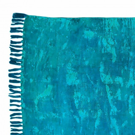 Tapis rectangulaire en tissu de couleur ethnique avec pompons - Fibra