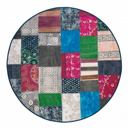 Tapis ethnique rond en tissu de coton coloré - Fibre