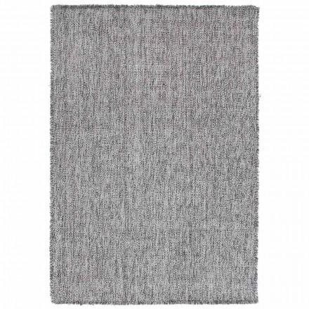 Grand tapis à franges design moderne en laine noire ou crème - Jacqueline