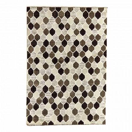 Tapis design moderne avec motif géométrique en laine et coton - Tapioca
