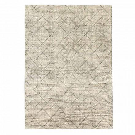 Tapis de salon moderne tissé à la main en laine Design géométrique - Geome
