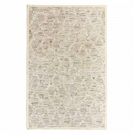 Tapis moderne en laine et coton ivoire avec fantaisie pour salon - Peppo