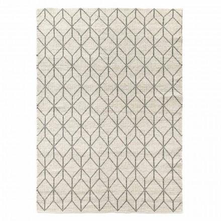 Tapis moderne tissé à la main avec motif géométrique en laine pour salon - Geome