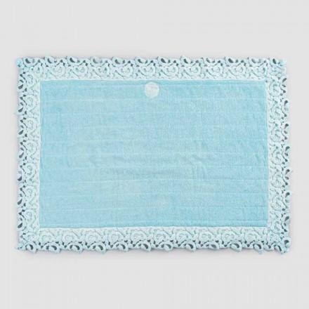 Tapis de bain en coton éponge et lin avec dentelle Poema 2 couleurs - Cuorotto