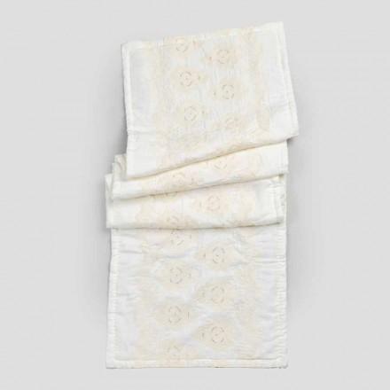Tapis de bain rectangulaire en lin blanc naturel avec broderie gothique - Muriel