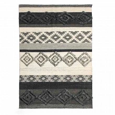 Tapis rectangulaire en laine, coton et viscose pour salon moderne - Zorro