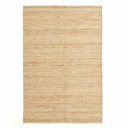 Tapis rectangulaire en laine, jute et coton design moderne pour salon - Remino