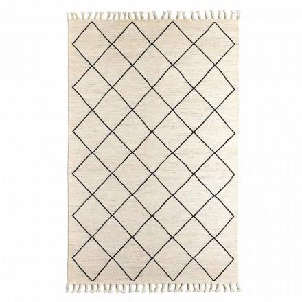 Tapis de salon moderne à motif géométrique en laine et coton - Metria