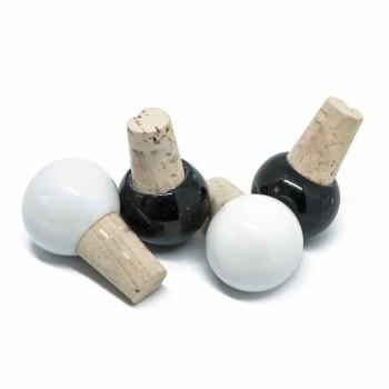 Bouchon à Vin en Marbre Coloré et Liège, Design Italien 6 Pièces - Pact