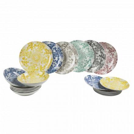 Service de Table Porcelaine Coloré 18 Pièces - Pizzotto