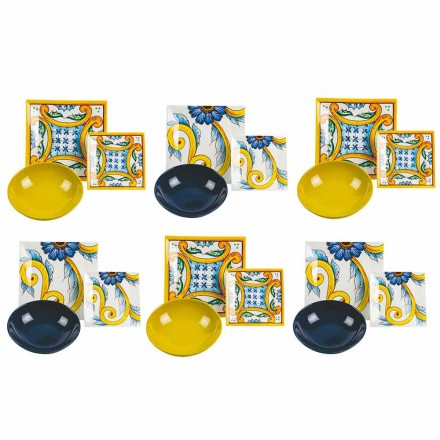 Table Élégante Colorée, Porcelaine Et Grès 18 Pièces - Carreaux