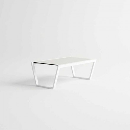 Table basse de jardin design basse en aluminium blanc - Louisiana3