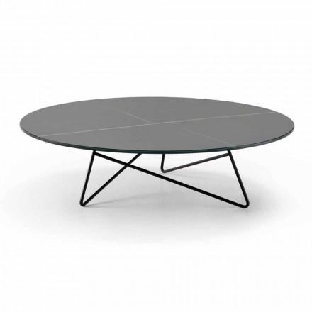 Table basse ronde de salon en métal et verre effet marbre de luxe - Magali
