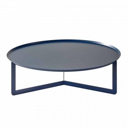 Table basse ronde d'extérieur en métal coloré Made in Italy - Stephane