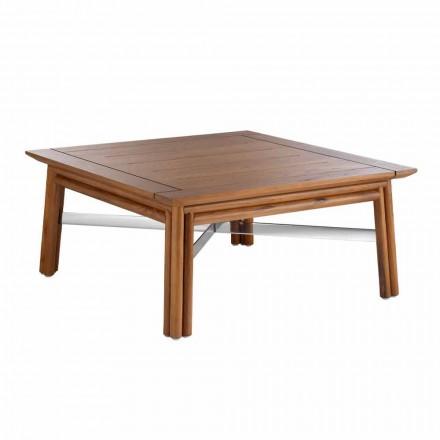 Table basse d'extérieur carrée basse en bois naturel ou design noir - Suzana