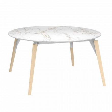 Table basse ronde avec plateau effet marbre, 3 couleurs 2 tailles - Bois Faz - Vondom