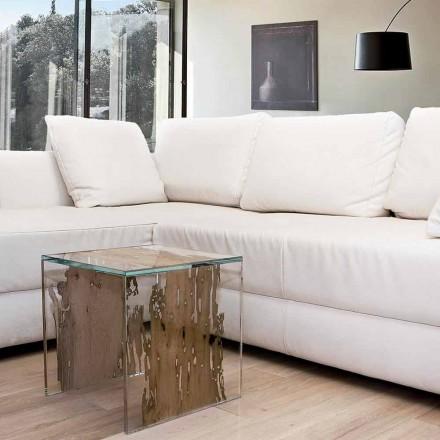 Table de chevet en bois de Briccola et verre Rialto Continuo