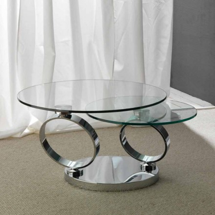 Table basse avec 2 plateaux ronds pivotants Chieti, de design moderne