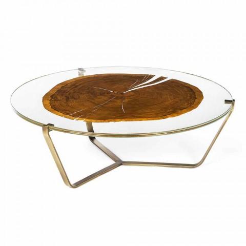 Table Basse A Cafe De Design Avec Plateau En Verre Et Bois Bigo