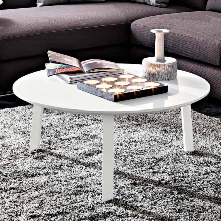 Table basse avec plateau rond en MDF laqué Made in Italy - Tobiko