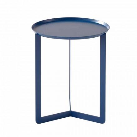 Table basse d'extérieur ronde en métal fabriquée en Italie - Stéphane
