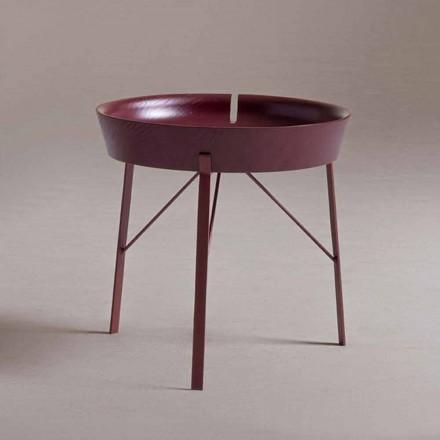 Table basse de salon en acier et bois coloré design moderne - Cocoon