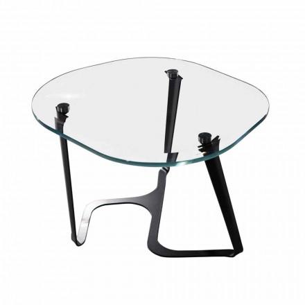 Table basse artisanale en verre et acier Made in Italy - Marbello