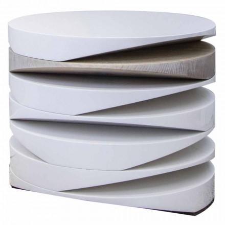 Table basse en marbre blanc avec insert en travertin Made in Italy - Life