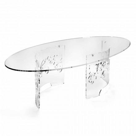 Table basse en plexiglas fumé ou transparent avec base décorée - Crassus