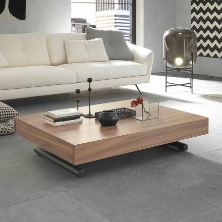 Table basse transformable moderne en bois et métal fabriquée en Italie - Fabio