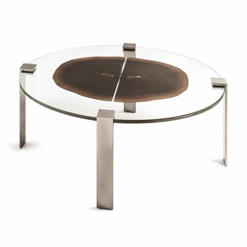 Table Haute A Cafe Ovale Moderne Avec Plateau En Verre Et Bois Buck 2