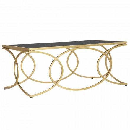 Table Basse Rectangulaire en Fer et Miroir Design - Gaieté