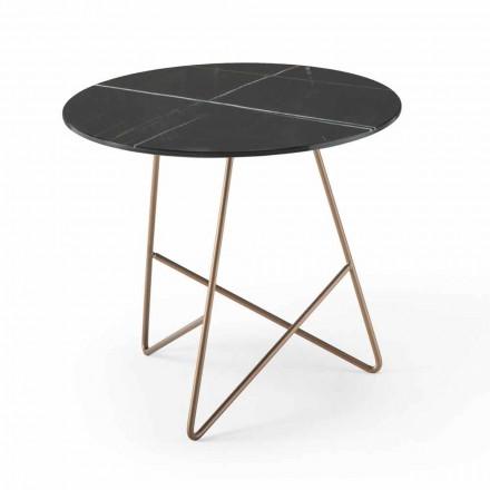 Table basse ronde en métal et verre effet marbre de luxe - Magali