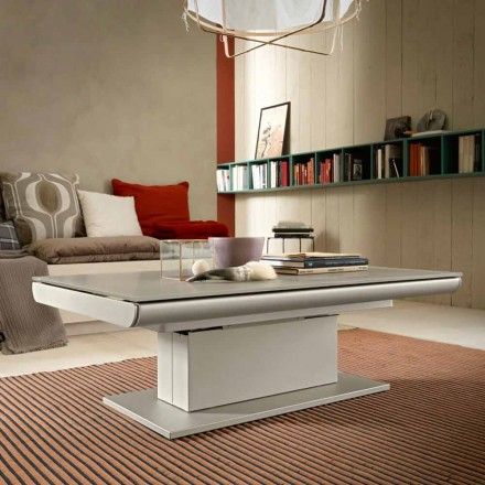Table basse transformable en verre et acier Made in Italy - Silvetro