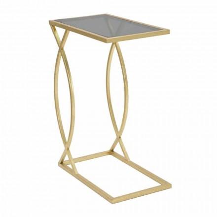 Table de canapé rectangulaire de design moderne en fer et verre - Herbie