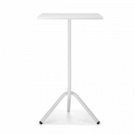 Table d'extérieur haute carrée en métal et tôle Made in Italy - Archibald
