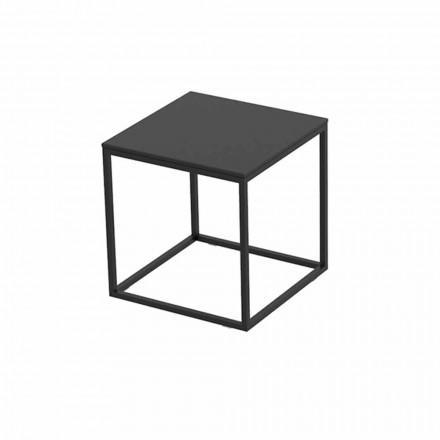 Table basse d'extérieur en aluminium et stratifié carré noir - Suave par Vondom
