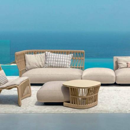Table basse de jardin Cliff Talenti en corde et alu, L 75 x P 75 cm
