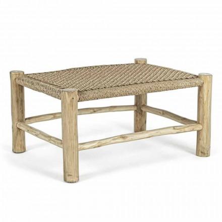 Table basse de jardin en branches de teck avec plateau en fibre tissée - Tecno