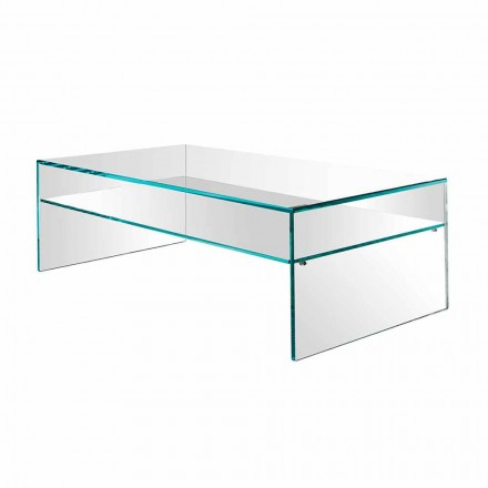 Table basse Bridge en verre extra-clair Made in Italy - Tifrana