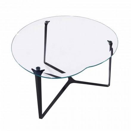 Table basse, fabriquée à la main, en verre et acier Made in Italy - Alicante