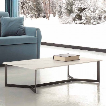 Table basse avec plateau en Hpl effet marbre blanc Made in Italy - Indio