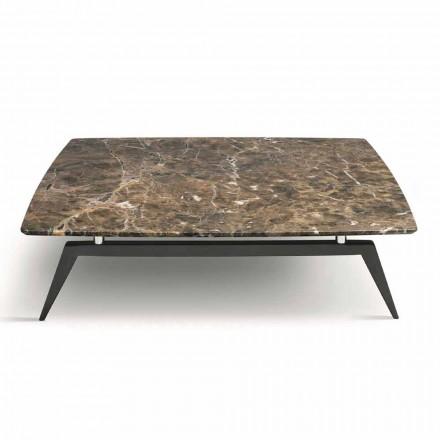 Table basse avec plateau en marbre et base en bois Made in Italy - Raise