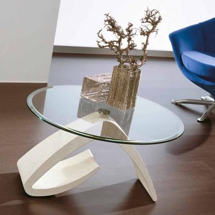 Table basse avec plateau rond en verre Made in Italy, Precious - Brachetto