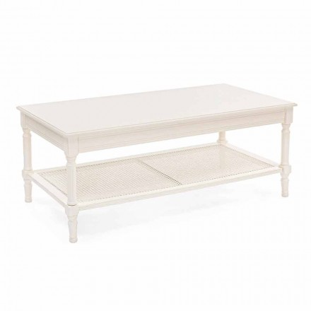 Table basse design classique en bois et rotin Homemotion - Raino