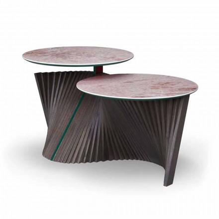 Table basse de luxe avec 2 plateaux ronds en grès Made in Italy - Stockholm