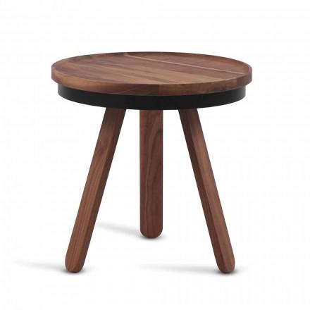 Table basse design avec plateau rond et pieds en bois massif - Salerno