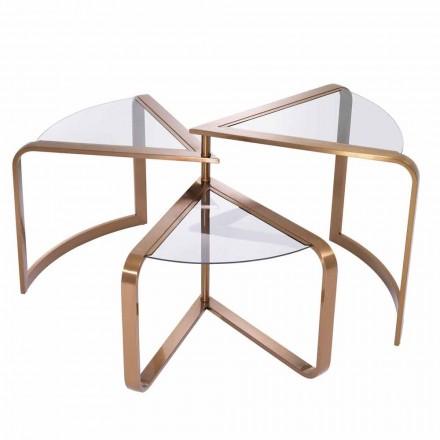 Table basse design en verre avec détails finition cuivre - Carpi