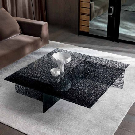 Table Basse Design Extra-Légère en Verre Décoré Fabriqué en Italie - Sestola