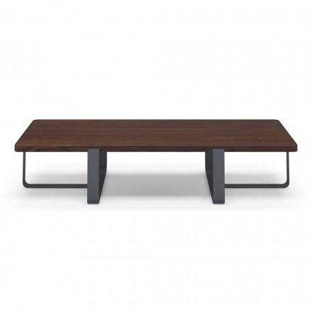 Table basse de luxe en métal coloré et plateau en bois - Anacleto